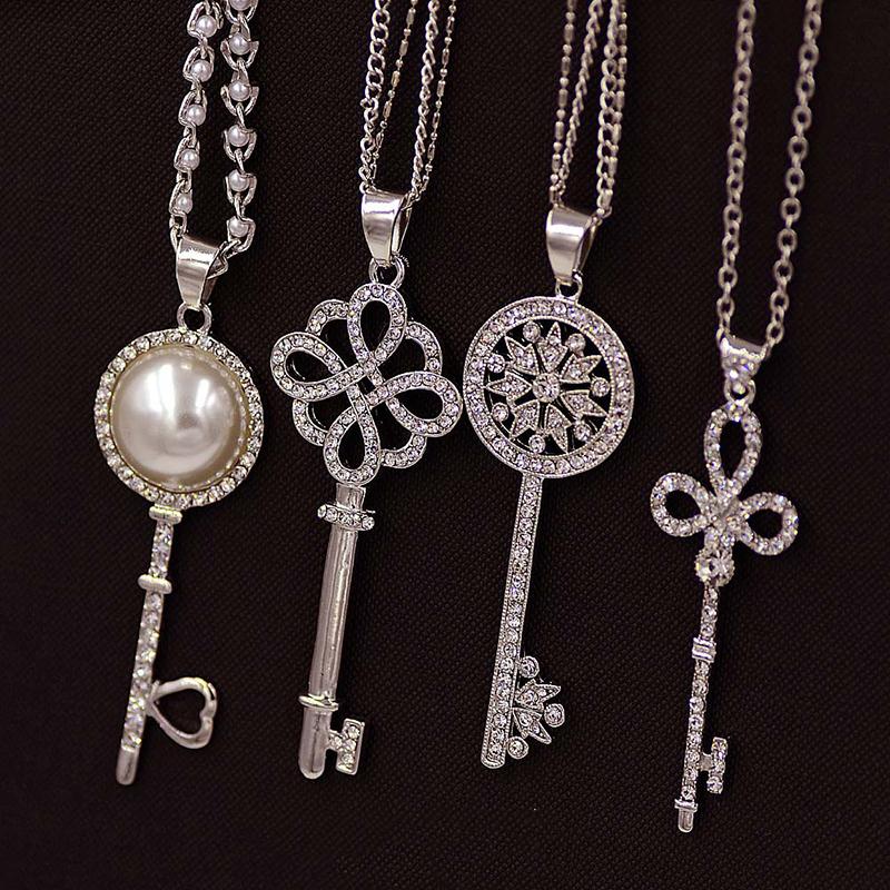 Brand Imitation Gold Silver Plated Luxury Crystal Full Rhinestone Fake Pearl Key Pendant Long Chain Necklace Women Jewelry(China (Mainland))