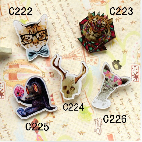 Гаджет  High quality acrylic badge customize new arrival HARAJUKU badge HARAJUKU brooch glasses cat trigonometric None Ювелирные изделия и часы