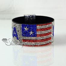 rhinestone UK USA flag snap wrap slake  bracelets handmade leather bracelet fashion leather bracelet jewelry fashion(China (Mainland))