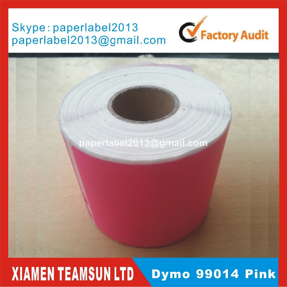 200 x Rolls Compatible Labels Dymo 99014 with pink colors also print Orange yellow Green custom colors mailing sticker(China (Mainland))