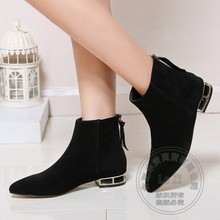 Breathable Flat Heel High Quality Women Booties Goat Women's Winter Suede Boots Pointy New Arrival Ladies Elegant Back Zipper(China (Mainland))