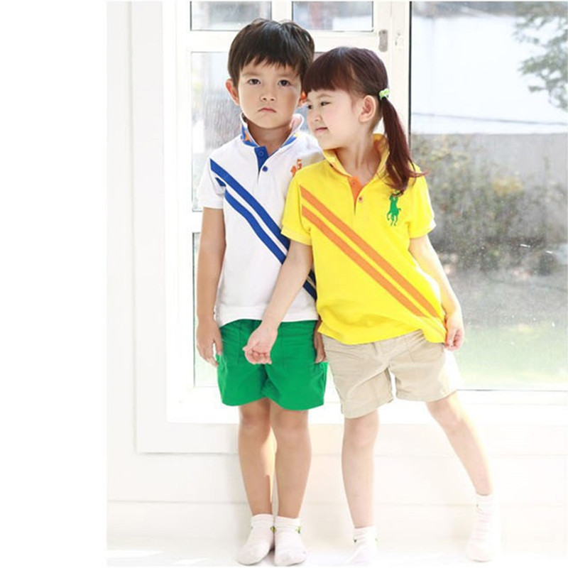 Leisure Cotton Kids Polo Pants Sport Sets Boys And Girls Shirt Children Short-sleeved Suit Children's Clothing Polo Pants Sets(China (Mainland))