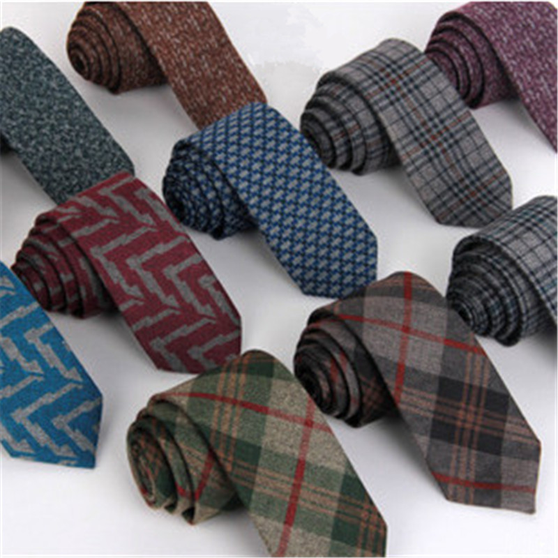 11 Colors Woven Wool Tie Men 6 cm Slim Skinny Narrow Corbata Linen font b Plaid
