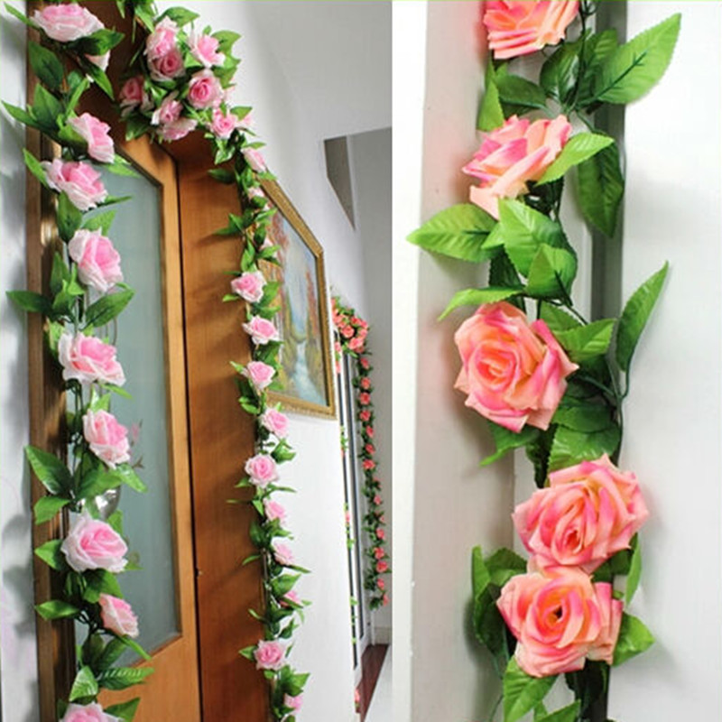240cm fake silk roses ivy vine artificial flowers with for Artificial flowers for wedding decoration