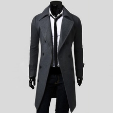 2016 Mens Autumn Winter Jacket Men Double Breasted Coat Outerwear Jacket Wool Overcoat Peacoat Plus Size S-XL Manteau Homme(China (Mainland))