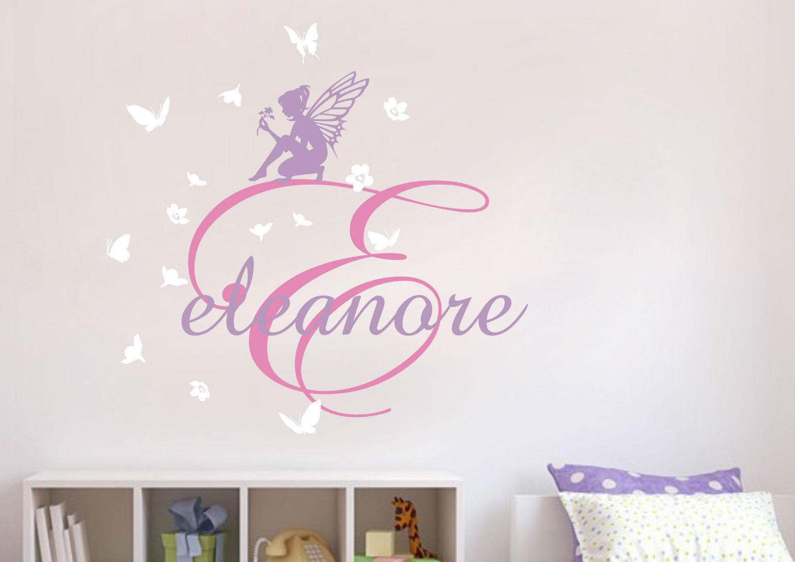 D119 Fairies Flower Custom Personalised Name Wall Stickers Kids Nursery Decal Decor Vinyl stickers home decor(China (Mainland))
