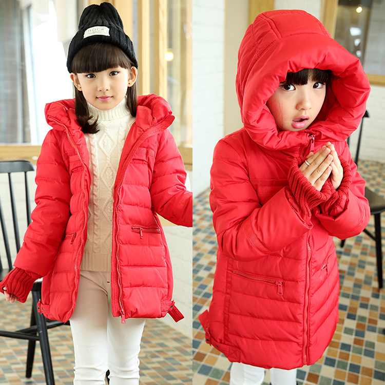 New Hot 2015 Brand Casual Children Parka Girls Winter Coat Long White Duck Down Thick Hooded Winter Jacket For Girls