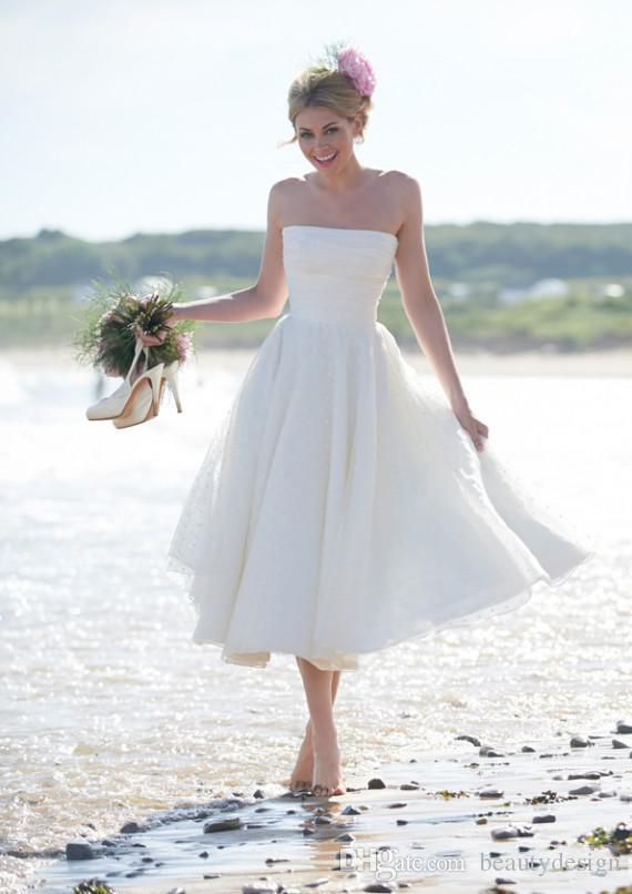 2015 cheap strapless lace tea length short beach wedding