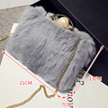 2016 Winter Fashion Genuine Rabbit Fur Shoulder Bag Women Real Fur Crossbody Bag Female Small Chain