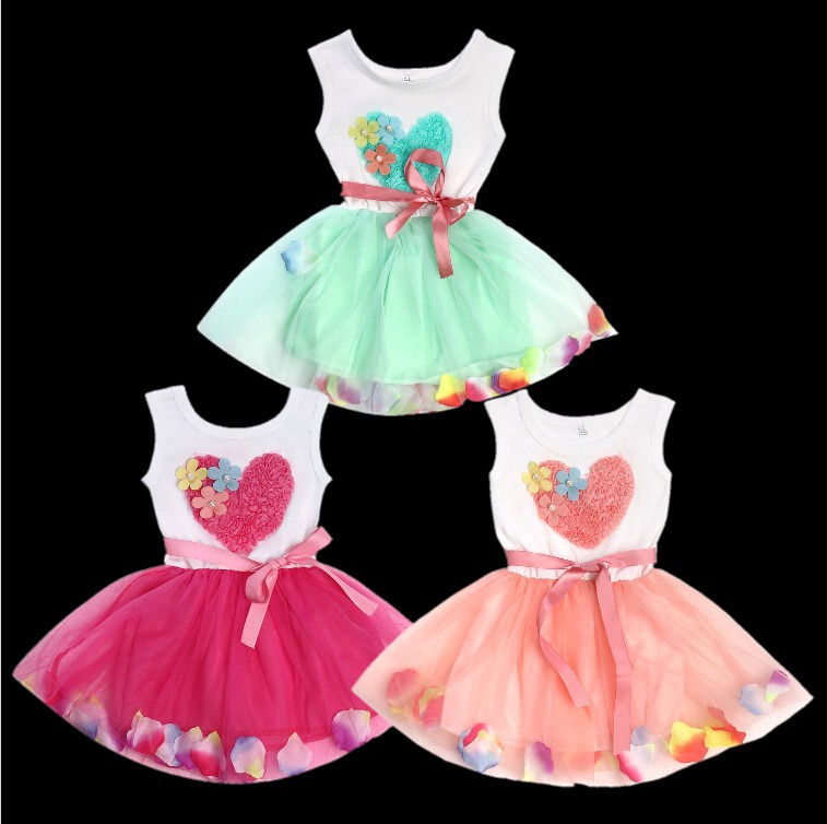 2016 New Fairy Baby Toddler Girls Princess Cute Love Heart Floral Flower Petal Pink/Red/Green Tulle Fancy Dress 1-4 Y(China (Mainland))