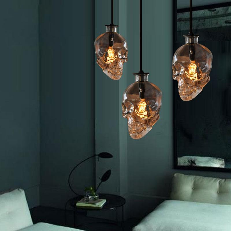 vintage Skull head glass pendant light hanging pendant lamps art decoration edison pendant lights E14 bulb wholesale<br><br>Aliexpress