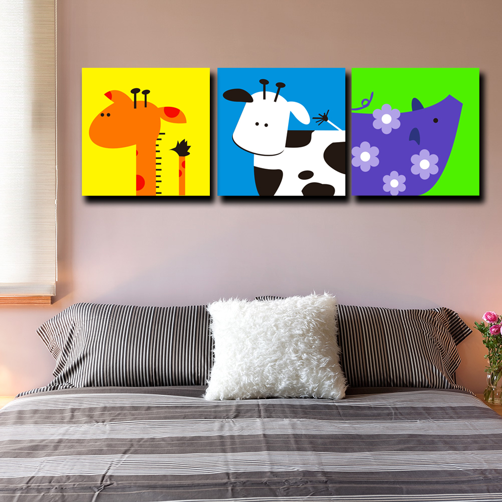 Aliexpress Com Buy 3 Panel Set Giraffe Cow Pig Cartoon