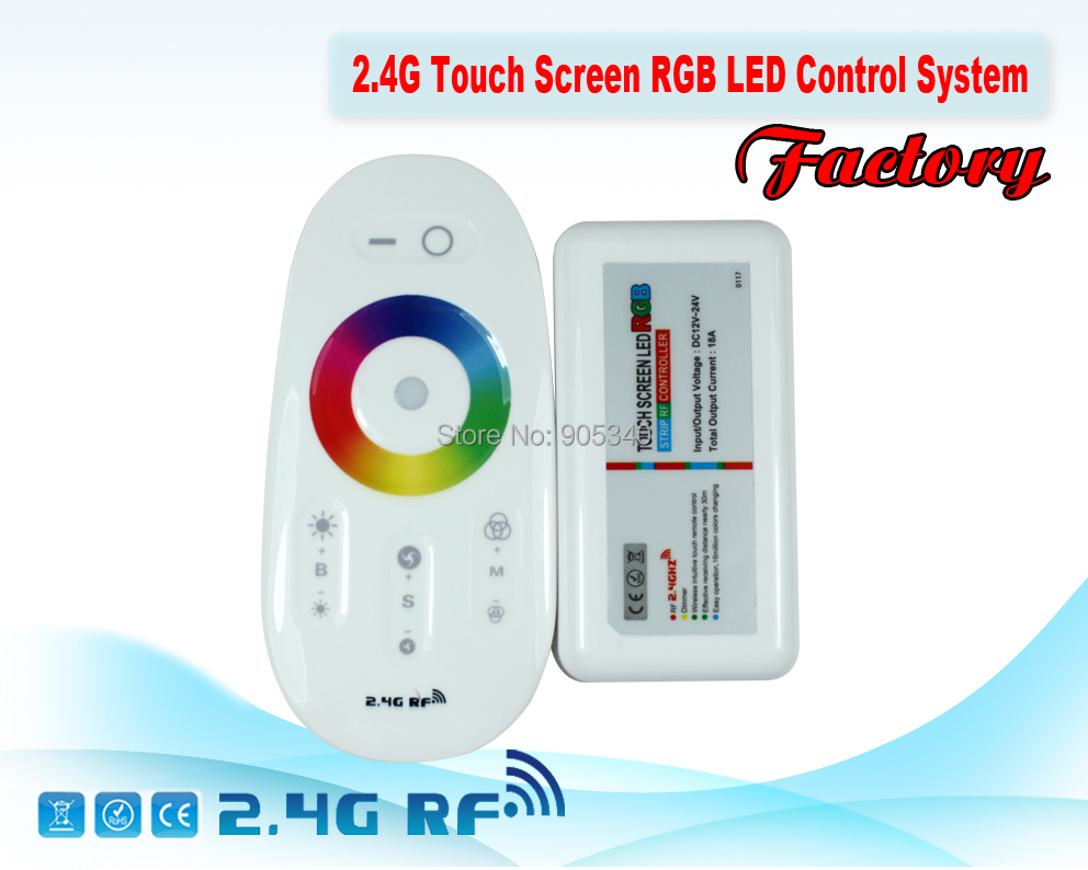 2.4G RGB LED controller Touch pannel LED controller 12V/24V18A Wireless 2.4G Finger touch ring Remote 216Watt for LED RGB Strip(China (Mainland))