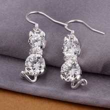 Hot Sale!Free Shipping 925 Silver Earring,Fashion Sterling Silver Jewelry,Double Stone Cat Earrings SMTE335(China (Mainland))
