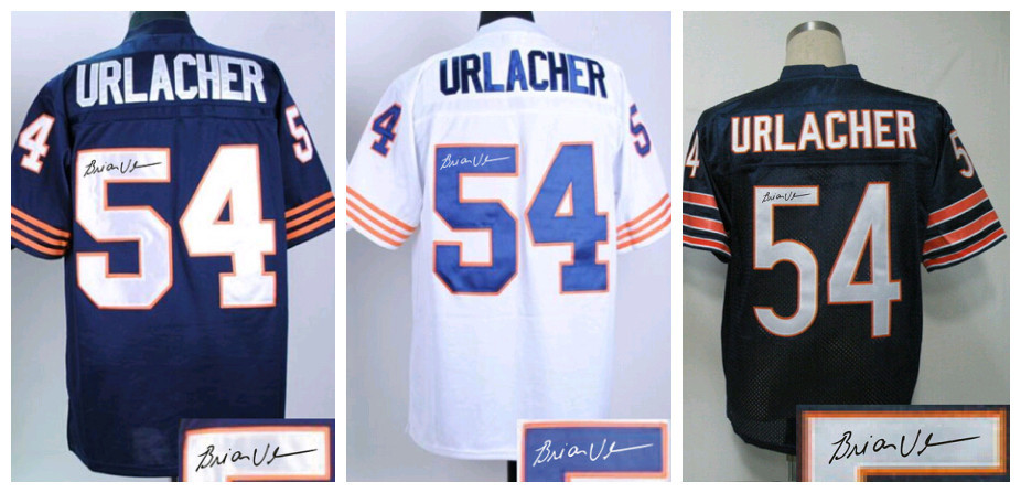 Cheap Sell Mens Stitching Logos Signed/Signature Rugby Jerseys,Autograph Vintage #54 Brian Urlacher Football Jerseys Blue/White(China (Mainland))