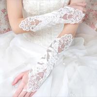 белые кружева свадебные аксессуары Свадебные перчатки атласные пальцев свадьбы партии Пром перчатки hb88
