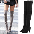 Plus size 34 43 new Women Boots Stretch Faux Suede Slim Thigh High Boots Sexy Fashion