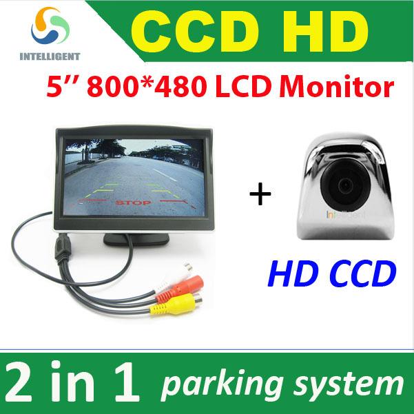 2 in 1 5 HD 800*480 Car Monitor car rear reverse monitor + HD CCD car parking Camera car rear camera night vision waterpoof<br><br>Aliexpress