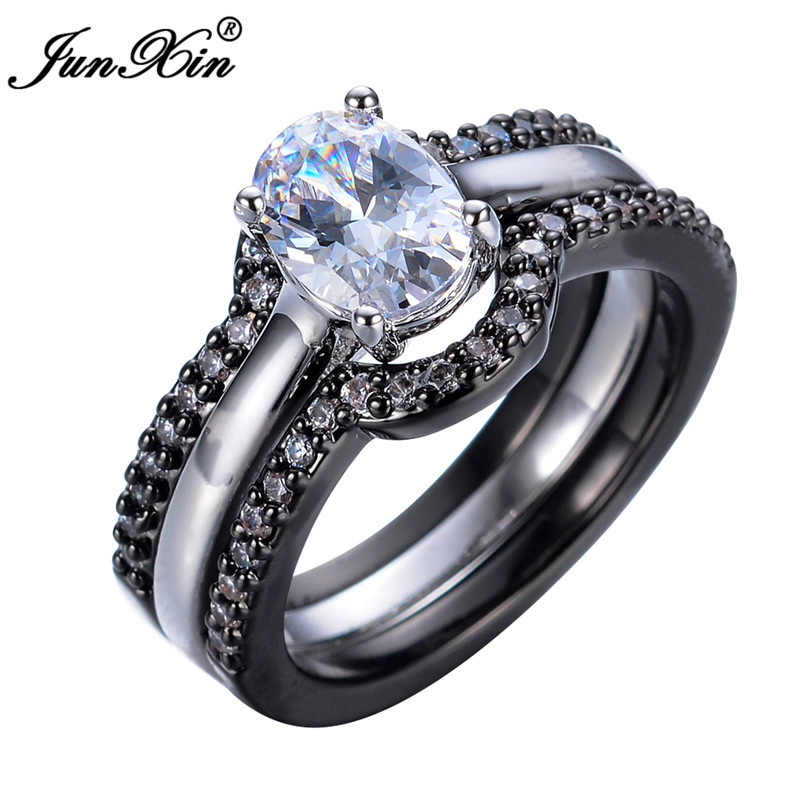 JUNXIN New Brand 3pcs Oval Crystal White AAA Zircon Men Women Engagement Ring Sets Blakc Gold Filled Jewelry Gifts(China (Mainland))
