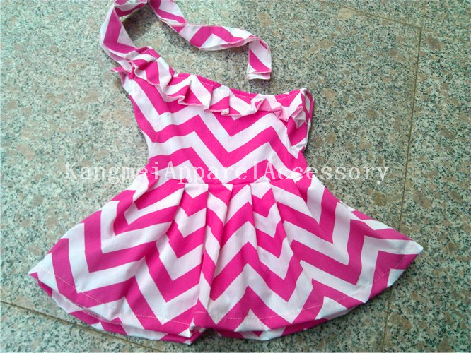 2014 FASHIONAL wholesale hot pink 100%cotton chevron single shoulder dress 0-16years<br><br>Aliexpress
