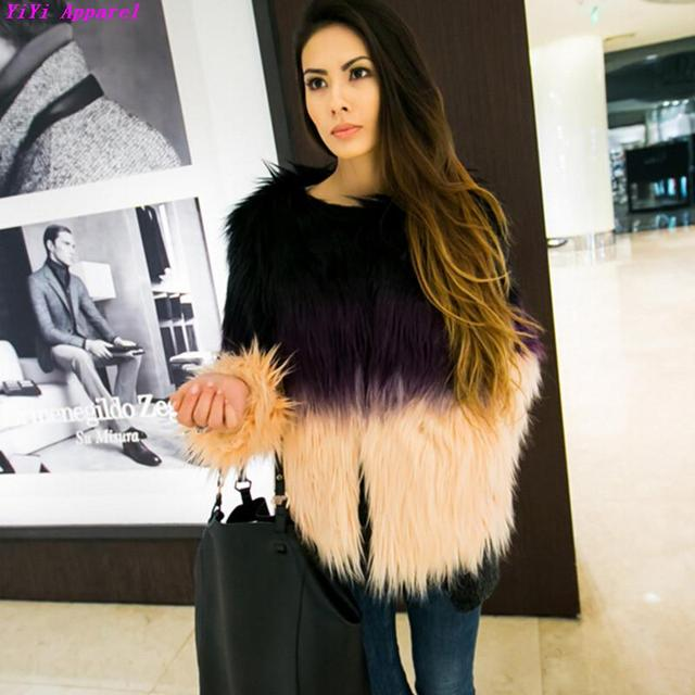 Градиент цвета с длинными волосатые лохматый искусственный мех лисы пальто градиент ...