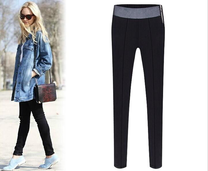 High-waisted! Women's Plus size XXL Black casual pencil Pants ladies' Zipper Leggings slim Capris 2015 - Online Store 913117 store