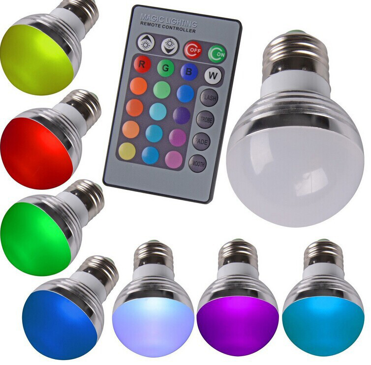 Free shipping E27 RGB 16 Colors color-changing LED Light Bulb globe Lamps Spotlight for home with Remote Controller, muti-color(China (Mainland))
