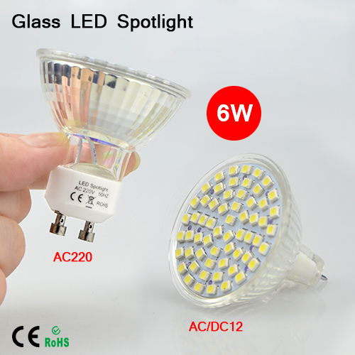 1Pcs Full Watt 6W GU10 MR16 LED lamp Bulbs Heat-resistant Glass Body AC 12V 220V 60 LEDs Spotlight 3528SMD For Indoor lighting(China (Mainland))