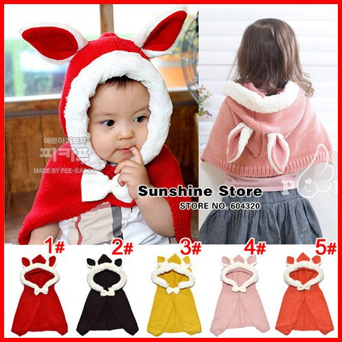 Rabbit winter hat Scarf set kids Shawl chlidren winter knitted coral fleece Cloak beanie baby #2D2524 5 pcs/lot(4 colors)(China (Mainland))