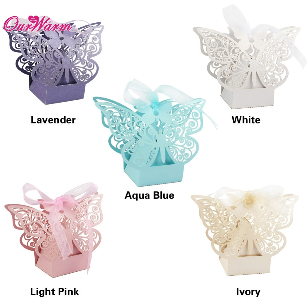 50pcs/lot Butterfly Hollow Wedding Candy Box with Ribbon Wedding Decoration Event Party Supplies Wedding Favor Bags Wholesale(China (Mainland))