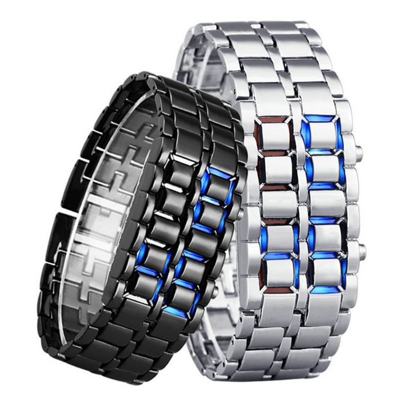 Women Bracelet Watches Lava Iron Samurai Metal LED Faceless Digital Wristwatch Stainless Steel Wristwatches relogio feminino(China (Mainland))