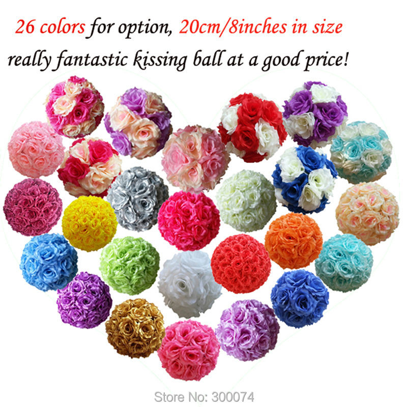 "20cm=8"" Artificial Roses Flower Ball Silk Flowers For A Wedding Rose Pomander For House or Home Decoration flores artificial(China (Mainland))"
