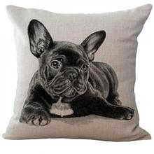 European Style Adorable French Bulldog Dog Cotton Linen Cushion Cover
