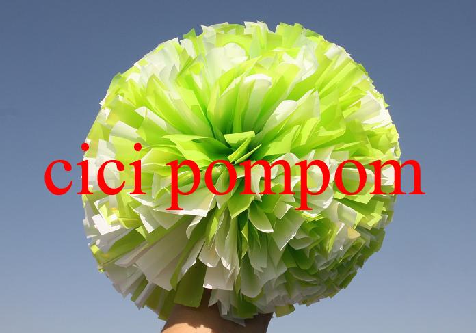 "2 pom pom cheerleader pom pom plastic white and plastic green 1,000*3/4"" wide streamers 6"" sizes(China (Mainland))"