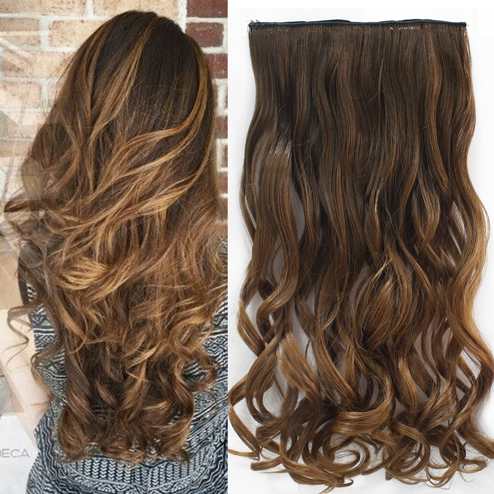 5 Combs Two Tone 24inch one Piece Curly Hair Clip in Ombre Dip Dye Synthetic Hair Extensions Heat Resistant Fading 135g Hair 827(China (Mainland))