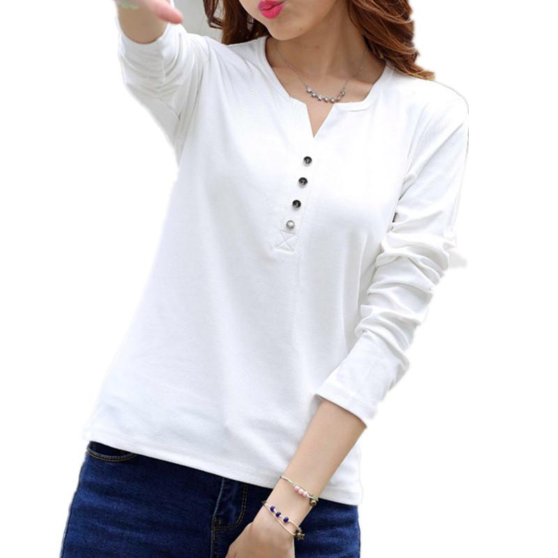2015 autumn winter fashion t shirt women long sleeve v for Cotton long sleeve v neck t shirts