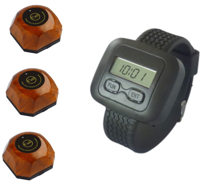 Watch paging system,pager system for restaurant/hospital/sales office/coffee shop/Ktv, 3pcs wood call button+1 wireless pager