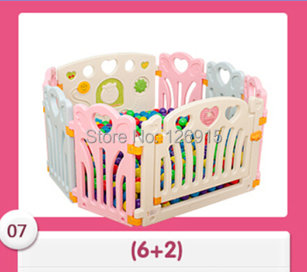 Free shipping Baby game fence child colorful plastic fence environmental baby ball poll kids indoor playpen 6 small pieces+1+1(China (Mainland))