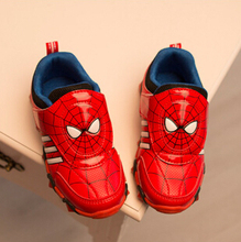 Kid Shoes Flasher The Avengers Sneakers/Baby LED Famous Brand Spider-Man Iron Man Captain America The Hulk Sport Shoe With LIght(China (Mainland))