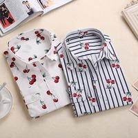 Neue florale langarm vintage bluse kirsche umlegekragen shirt blusas feminino damen blusen mode damen-oberteile 2015