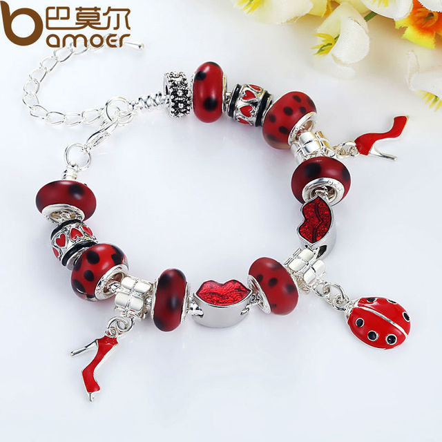 Fast Shipping wholesale pan silver Plated bead Charm Bracelet for women European Style Handmade Silver jewelry PA1198
