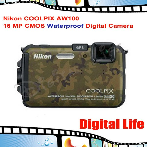 Nikon COOLPIX AW100 16 MP CMOS Waterproof Digital Camera with GPS and Full HD 1080p Video(China (Mainland))