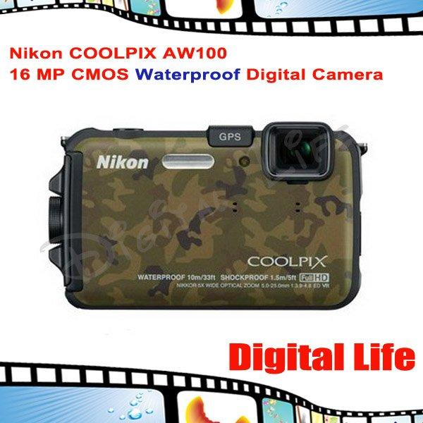 Nikon COOLPIX AW100 16 MP CMOS Waterproof Digital Camera with GPS and Full HD 1080p Video(China (Mainland))