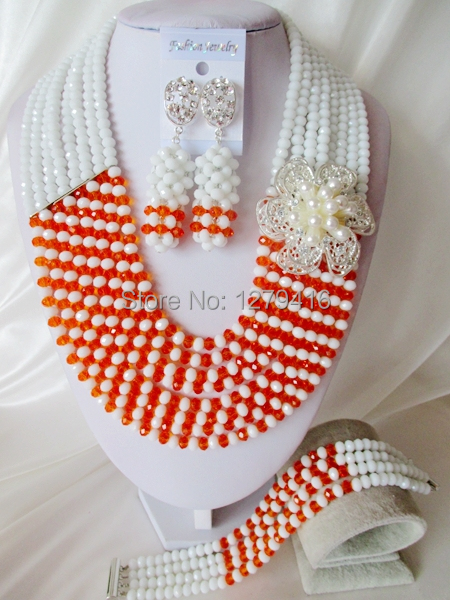 Fashion Nigerian African Wedding Beads Jewelry Set , Crystal Necklace Bracelet Earrings SetC1838<br><br>Aliexpress