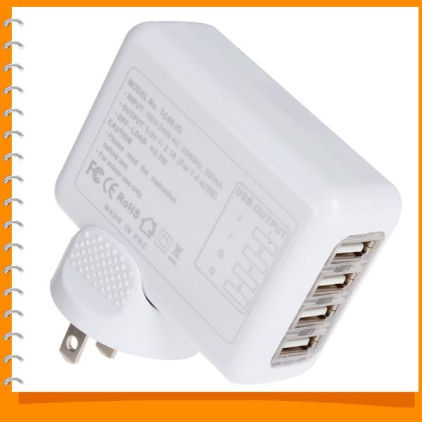 produto 4 Four Port USB Universal Wall AC Charger Plug Adapter 2.1A for Home Travel ( US UK EU and AU Standard Socket )