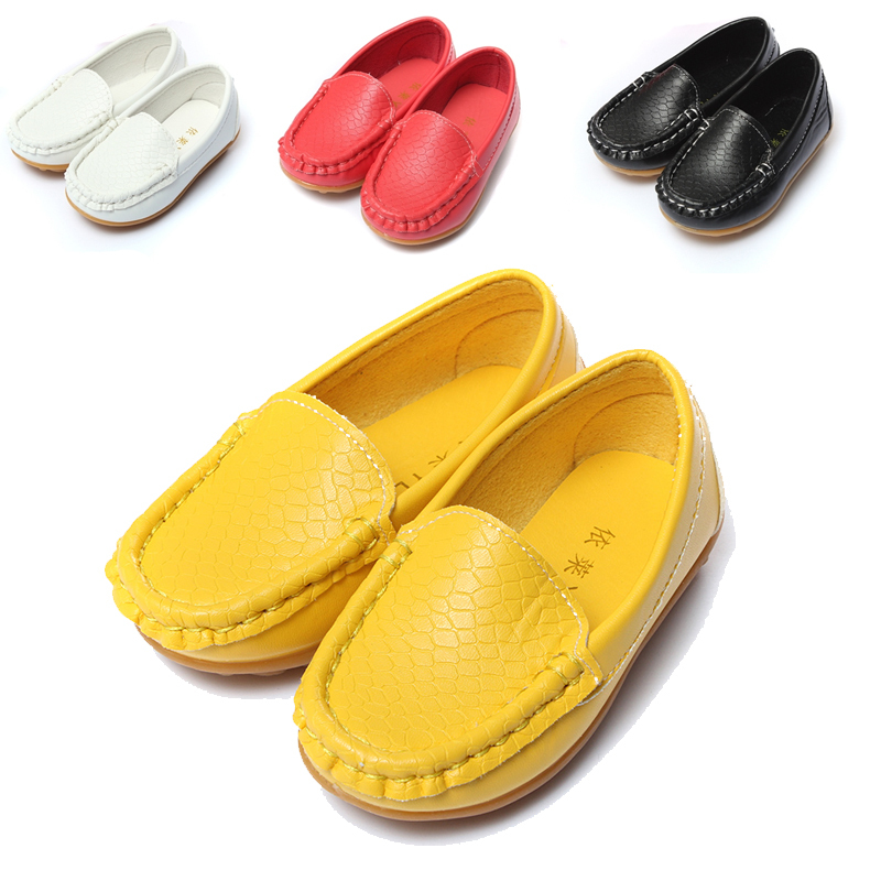 Wholesale  Size 21-25 Children Shoes Kids Genuine Leather Sneakers For Boys And Girls Boat Shoes Slip On Soft Sole Casual Fla
