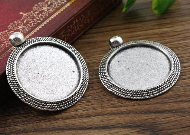 New Fashion 3pcs 25mm Inner Size Antique Silver Cool Style Cabochon Base Setting Charms Pendant (A3-03)(China (Mainland))