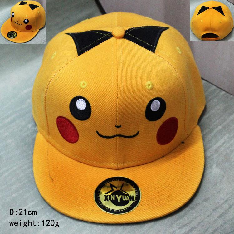 2016 Cartoon accessories hip pop hat Pikachu yellow cap girls boy cool baseball hat friend gifts CA279(China (Mainland))