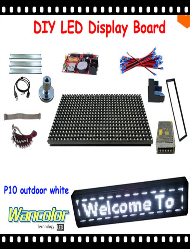 Free shipping DIY LED text sign 20pcs p10 outdoor white color LED module+ power supply+controller +aluminum frame+corner+cables(China (Mainland))