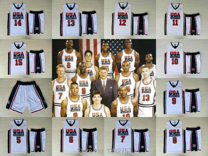 Sweet Suit Jerseys 1992 USA Olympic Games Dream Team Jerseys, 7 Bird 8 Pippen 9 jordan 11 Malone 12 stockton basketball Jersey(China (Mainland))